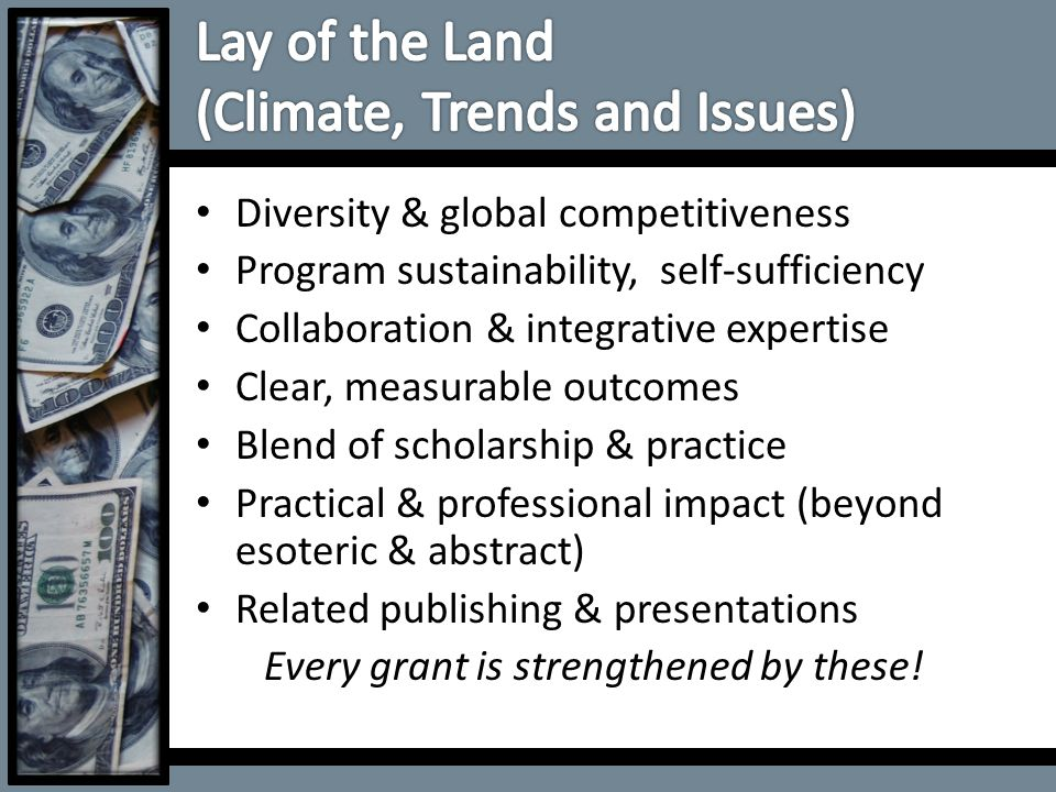 Diversity & global competitiveness Program sustainability, self-sufficiency Collaboration & integrative expertise Clear, measurable outcomes Blend of
