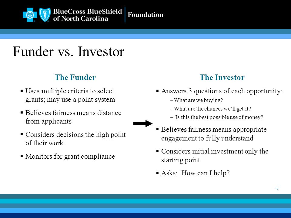 7 Funder vs. Investor The Funder  Uses multiple criteria to select grants; may use a point system  Believes fairness means distance from applicants
