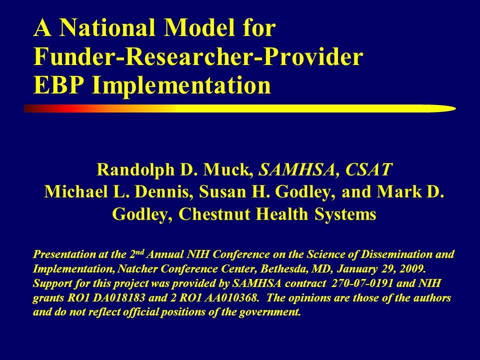 A National Model for Funder-Researcher-Provider EBP Implementation Randolph D.