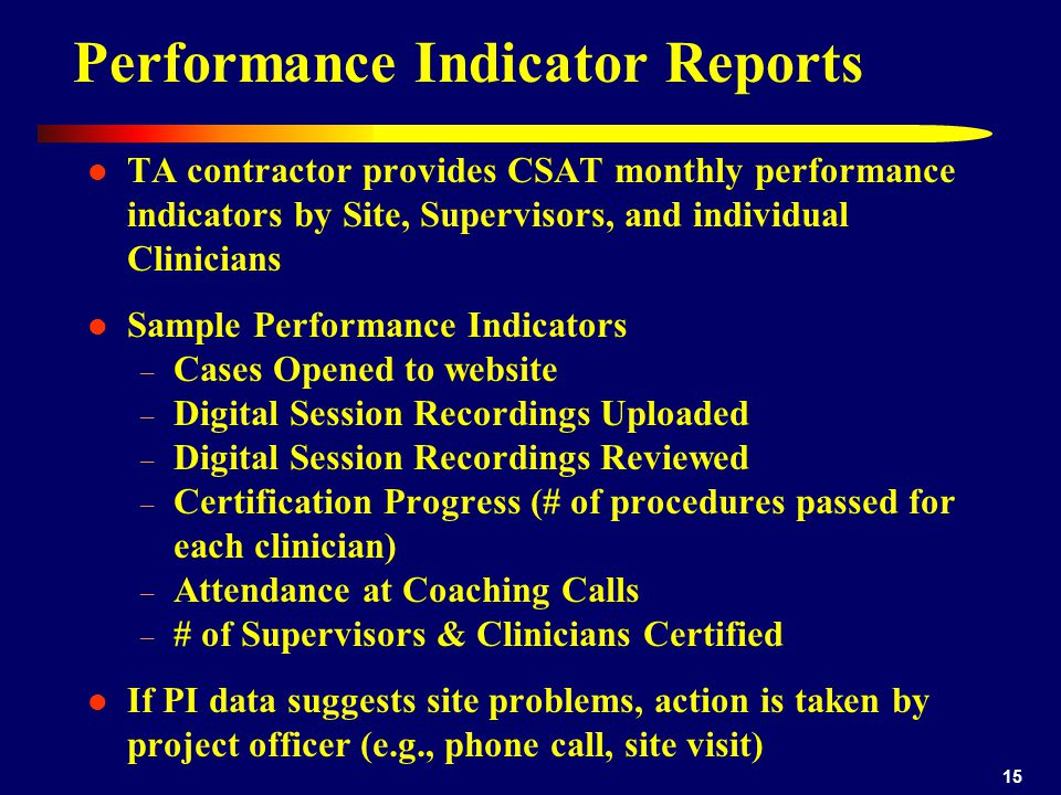 15 Performance Indicator Reports TA contractor provides CSAT monthly performance indicators by Site, Supervisors, and individual Clinicians Sample Per