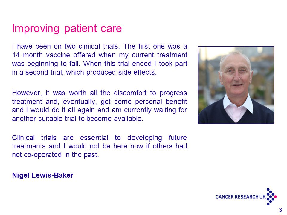 Improving patient care I have been on two clinical trials.