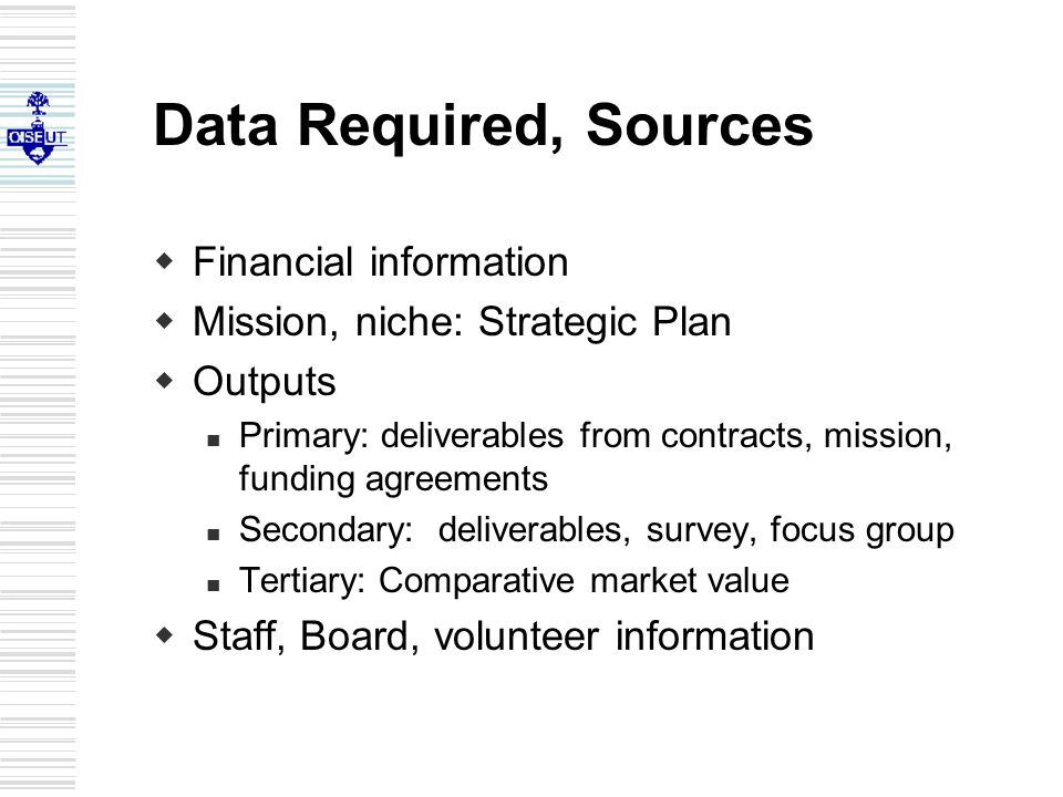 Data Required, Sources  Financial information  Mission, niche: Strategic Plan  Outputs Primary: deliverables from contracts, mission, funding agreements Secondary: deliverables, survey, focus group Tertiary: Comparative market value  Staff, Board, volunteer information