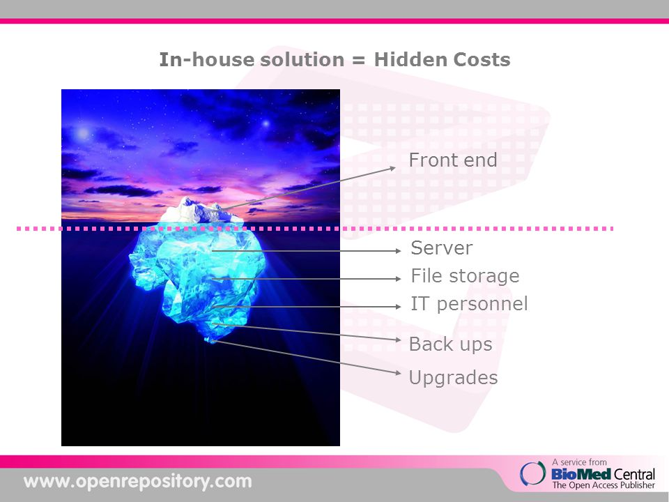 In-house solution = Hidden Costs Front end Server File storage IT personnel Back ups Upgrades
