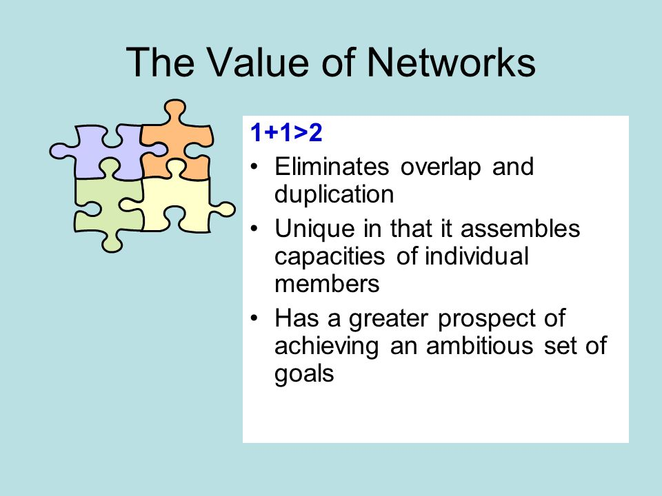 The Value of Networks 1+1>2 Eliminates overlap and duplication Unique in that it assembles capacities of individual members Has a greater prospect of achieving an ambitious set of goals