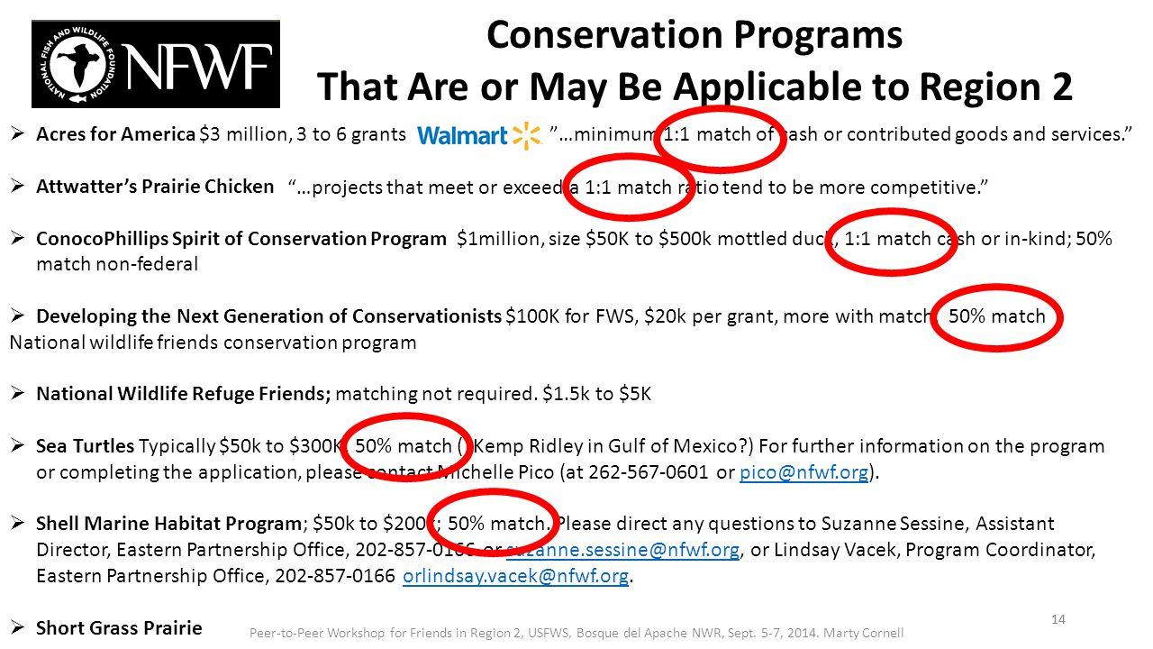  Acres for America $3 million, 3 to 6 grants  Attwatter's Prairie Chicken  ConocoPhillips Spirit of Conservation Program $1million, size $50K to $5
