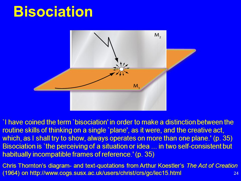 24 Bisociation `I have coined the term `bisociation in order to make a distinction between the routine skills of thinking on a single `plane , as it were, and the creative act, which, as I shall try to show, always operates on more than one plane. (p.