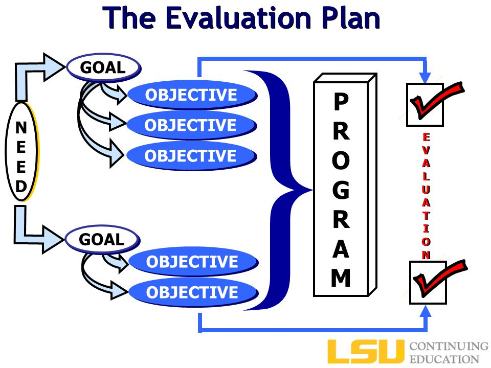 The Evaluation Plan EVALUATIONEVALUATION EVALUATIONEVALUATION PROGRAMPROGRAM } GOAL OBJECTIVE NEEDNEED
