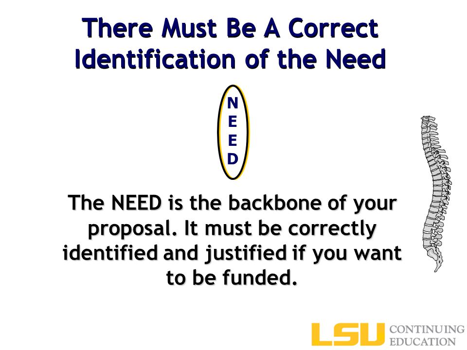 There Must Be A Correct Identification of the Need The NEED is the backbone of your proposal.