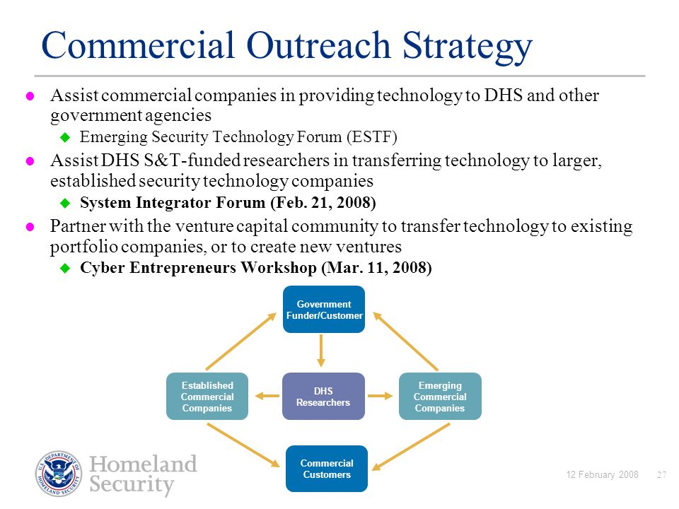 12 February 200827 Assist commercial companies in providing technology to DHS and other government agencies  Emerging Security Technology Forum (ESTF) Assist DHS S&T-funded researchers in transferring technology to larger, established security technology companies  System Integrator Forum (Feb.