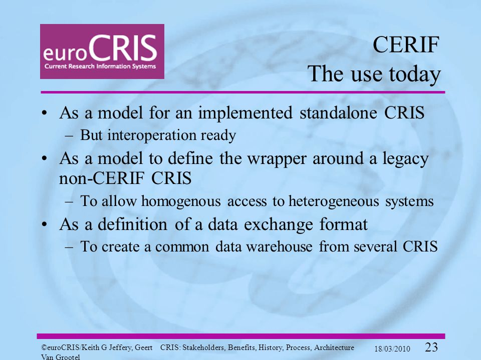 ©euroCRIS/Keith G Jeffery, Geert Van Grootel CRIS: Stakeholders, Benefits, History, Process, Architecture 18/03/2010 23 CERIF The use today As a model for an implemented standalone CRIS –But interoperation ready As a model to define the wrapper around a legacy non-CERIF CRIS –To allow homogenous access to heterogeneous systems As a definition of a data exchange format –To create a common data warehouse from several CRIS