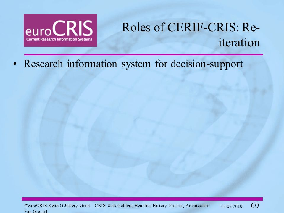 ©euroCRIS/Keith G Jeffery, Geert Van Grootel CRIS: Stakeholders, Benefits, History, Process, Architecture 18/03/2010 60 Roles of CERIF-CRIS: Re- iteration Research information system for decision-support