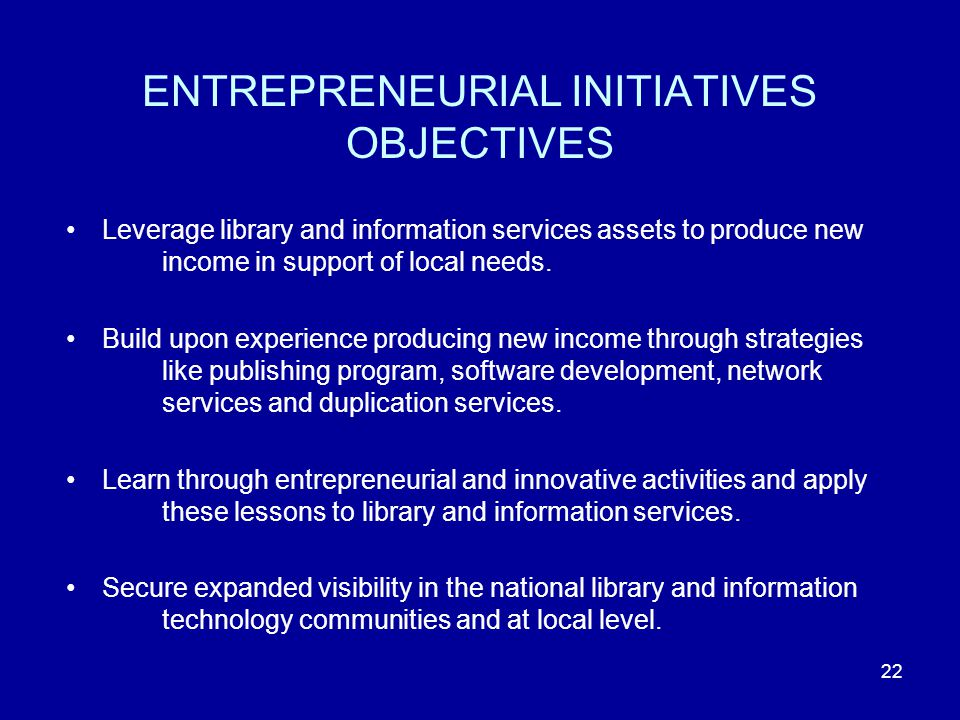 22 ENTREPRENEURIAL INITIATIVES OBJECTIVES Leverage library and information services assets to produce new income in support of local needs.