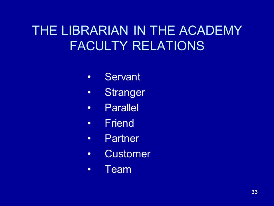 33 THE LIBRARIAN IN THE ACADEMY FACULTY RELATIONS Servant Stranger Parallel Friend Partner Customer Team