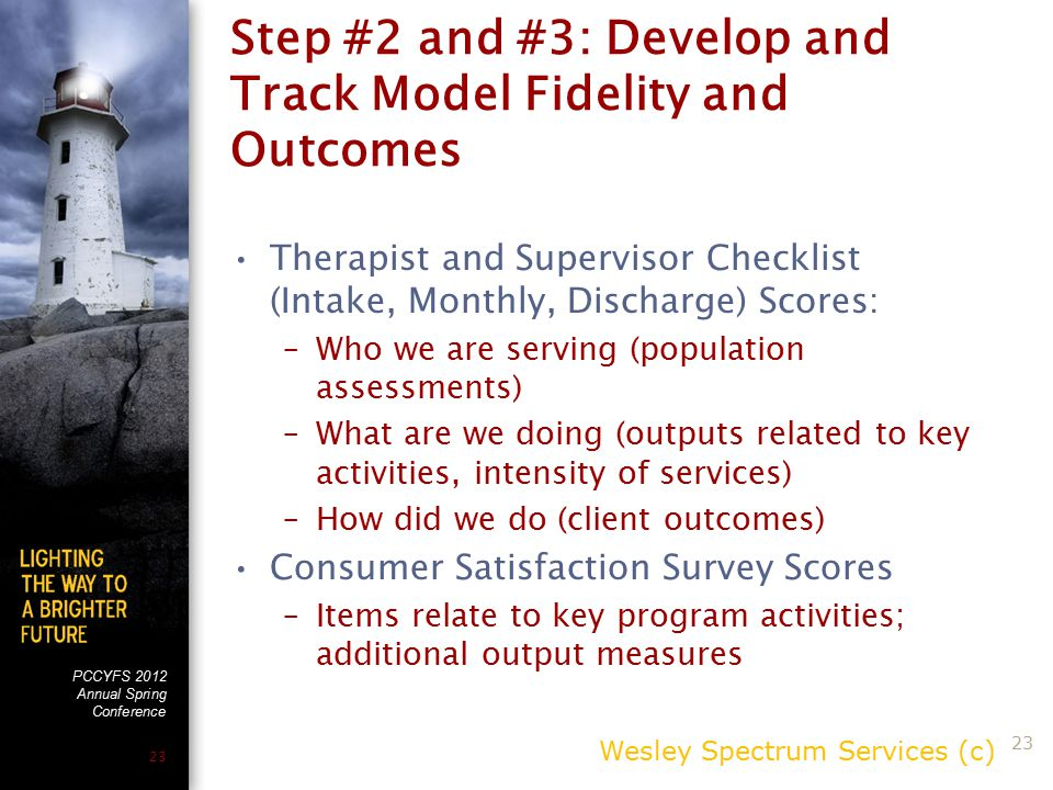 PCCYFS 2012 Annual Spring Conference 23 Step #2 and #3: Develop and Track Model Fidelity and Outcomes Therapist and Supervisor Checklist (Intake, Monthly, Discharge) Scores: –Who we are serving (population assessments) –What are we doing (outputs related to key activities, intensity of services) –How did we do (client outcomes) Consumer Satisfaction Survey Scores –Items relate to key program activities; additional output measures Wesley Spectrum Services (c) 23