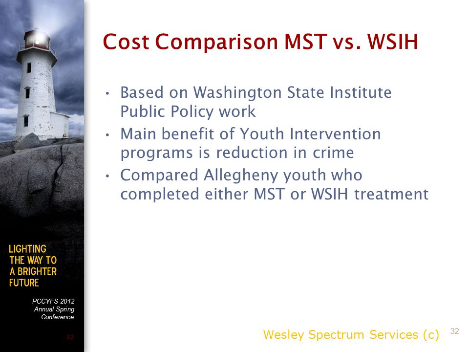 PCCYFS 2012 Annual Spring Conference 32 Cost Comparison MST vs. WSIH Based on Washington State Institute Public Policy work Main benefit of Youth Inte
