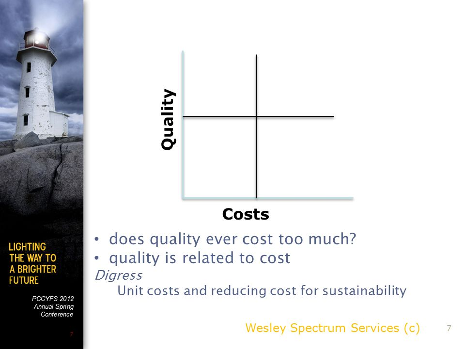 PCCYFS 2012 Annual Spring Conference 7 Wesley Spectrum Services (c) 7 Costs Quality does quality ever cost too much.