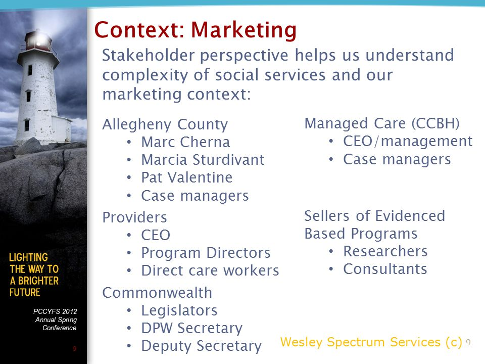 PCCYFS 2012 Annual Spring Conference 9 Stakeholder perspective helps us understand complexity of social services and our marketing context: Allegheny