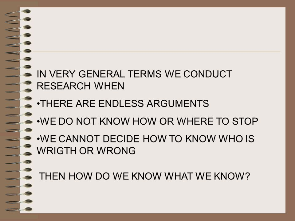 IN VERY GENERAL TERMS WE CONDUCT RESEARCH WHEN THERE ARE ENDLESS ARGUMENTS WE DO NOT KNOW HOW OR WHERE TO STOP WE CANNOT DECIDE HOW TO KNOW WHO IS WRIGTH OR WRONG THEN HOW DO WE KNOW WHAT WE KNOW?