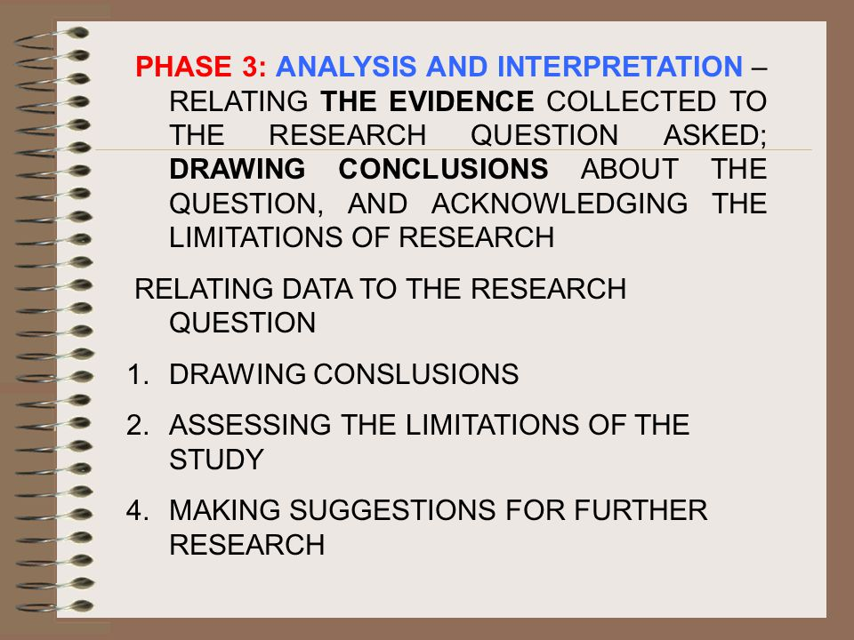 PHASE 3: ANALYSIS AND INTERPRETATION – RELATING THE EVIDENCE COLLECTED TO THE RESEARCH QUESTION ASKED; DRAWING CONCLUSIONS ABOUT THE QUESTION, AND ACKNOWLEDGING THE LIMITATIONS OF RESEARCH RELATING DATA TO THE RESEARCH QUESTION 1.DRAWING CONSLUSIONS 2.ASSESSING THE LIMITATIONS OF THE STUDY 4.MAKING SUGGESTIONS FOR FURTHER RESEARCH