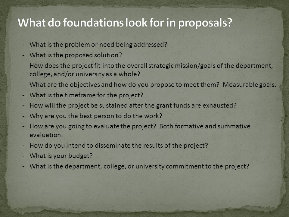 -What is the problem or need being addressed? -What is the proposed solution? -How does the project fit into the overall strategic mission/goals of th