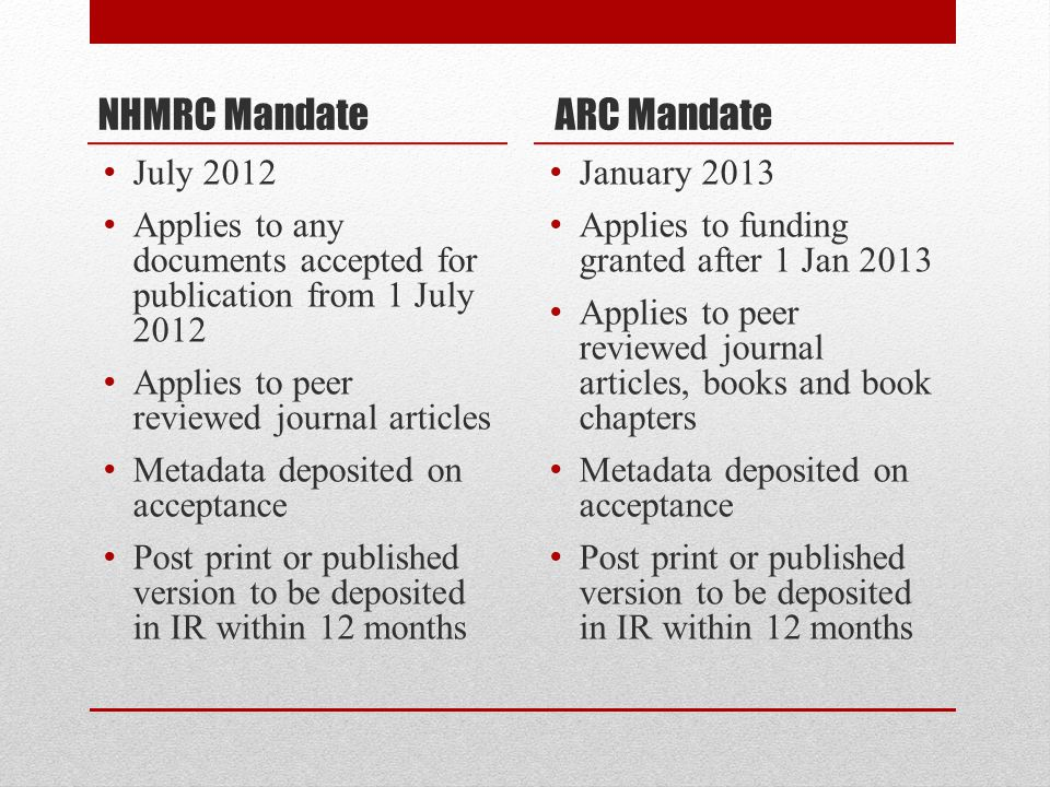 NHMRC Mandate July 2012 Applies to any documents accepted for publication from 1 July 2012 Applies to peer reviewed journal articles Metadata deposited on acceptance Post print or published version to be deposited in IR within 12 months ARC Mandate January 2013 Applies to funding granted after 1 Jan 2013 Applies to peer reviewed journal articles, books and book chapters Metadata deposited on acceptance Post print or published version to be deposited in IR within 12 months