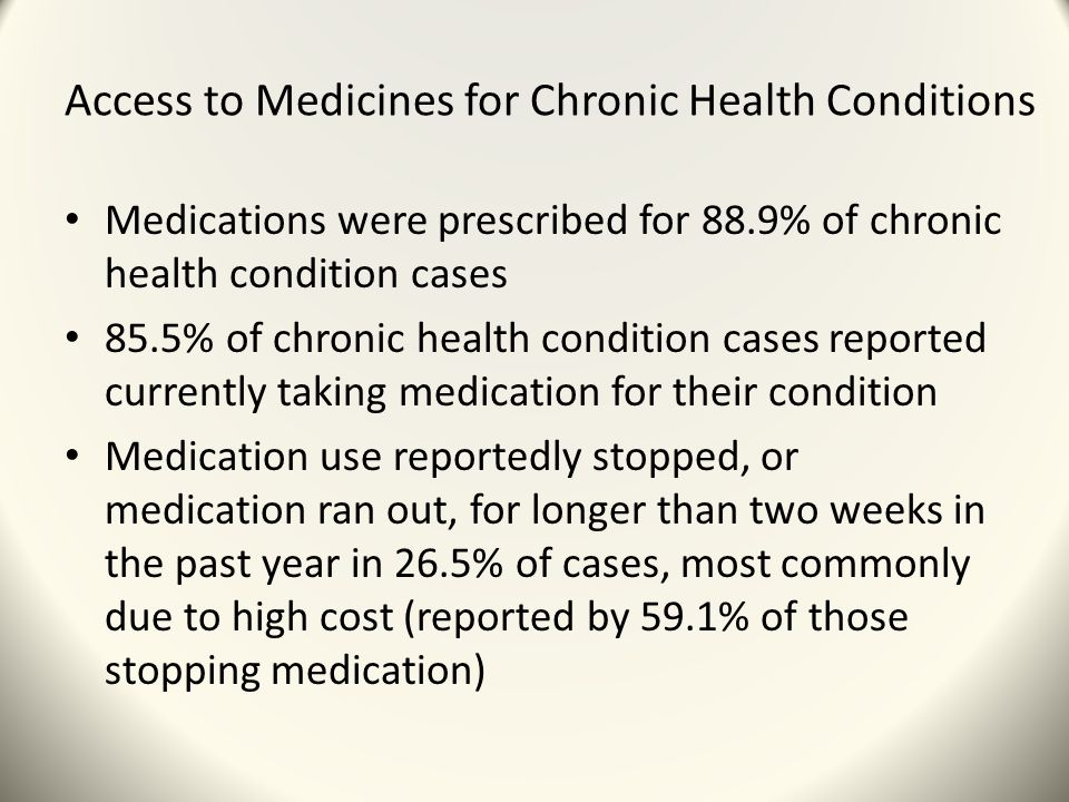 Access to Medicines for Chronic Health Conditions Medications were prescribed for 88.9% of chronic health condition cases 85.5% of chronic health condition cases reported currently taking medication for their condition Medication use reportedly stopped, or medication ran out, for longer than two weeks in the past year in 26.5% of cases, most commonly due to high cost (reported by 59.1% of those stopping medication)