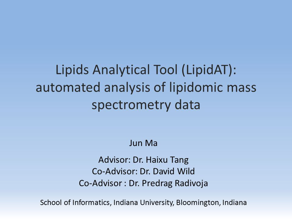 Outline Introduction to lipidomics and mass spectrometry Objectives Data and methods Results Future work Acknowledgements