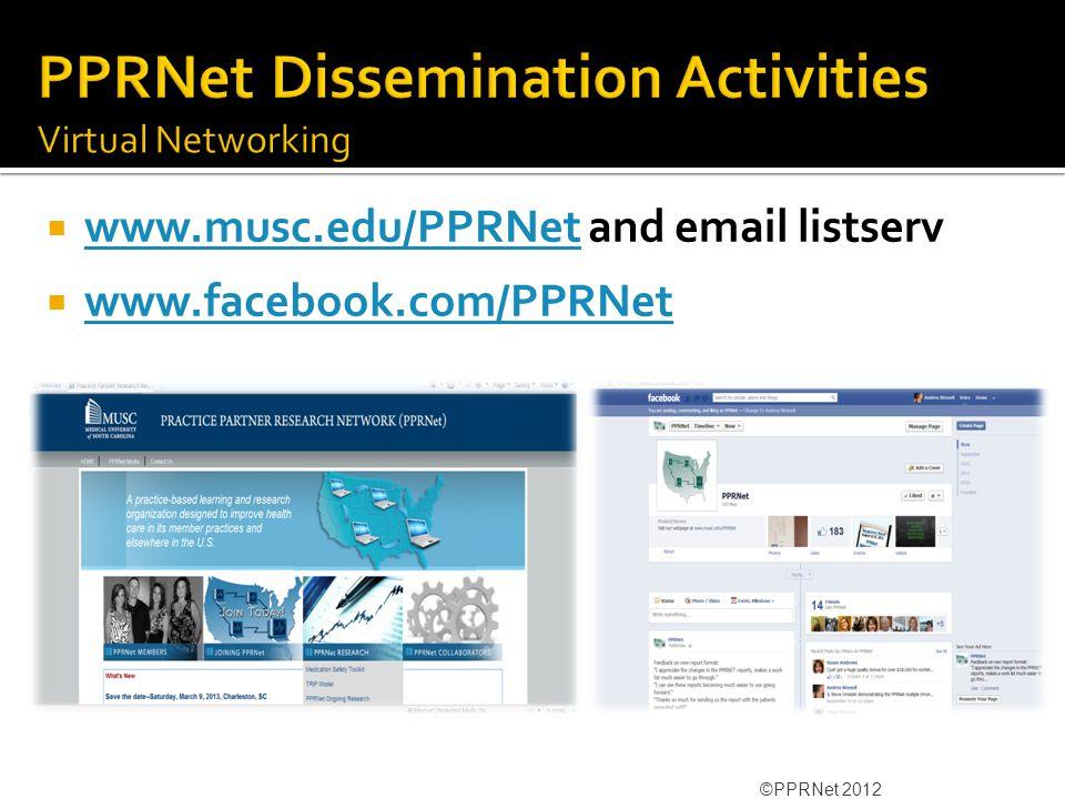  www.musc.edu/PPRNet and email listserv www.musc.edu/PPRNet  www.facebook.com/PPRNet www.facebook.com/PPRNet ©PPRNet 2012