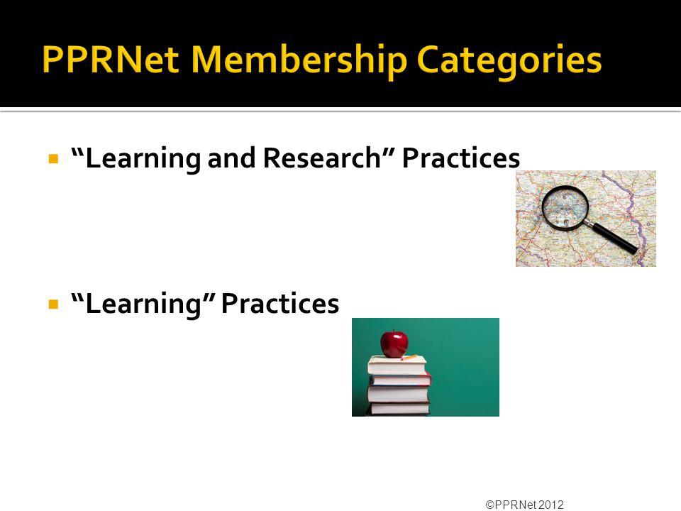  Learning and Research Practices  Learning Practices ©PPRNet 2012