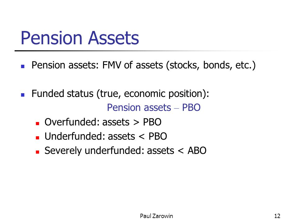 Paul Zarowin12 Pension Assets Pension assets: FMV of assets (stocks, bonds, etc.) Funded status (true, economic position): Pension assets – PBO Overfunded: assets > PBO Underfunded: assets < PBO Severely underfunded: assets < ABO