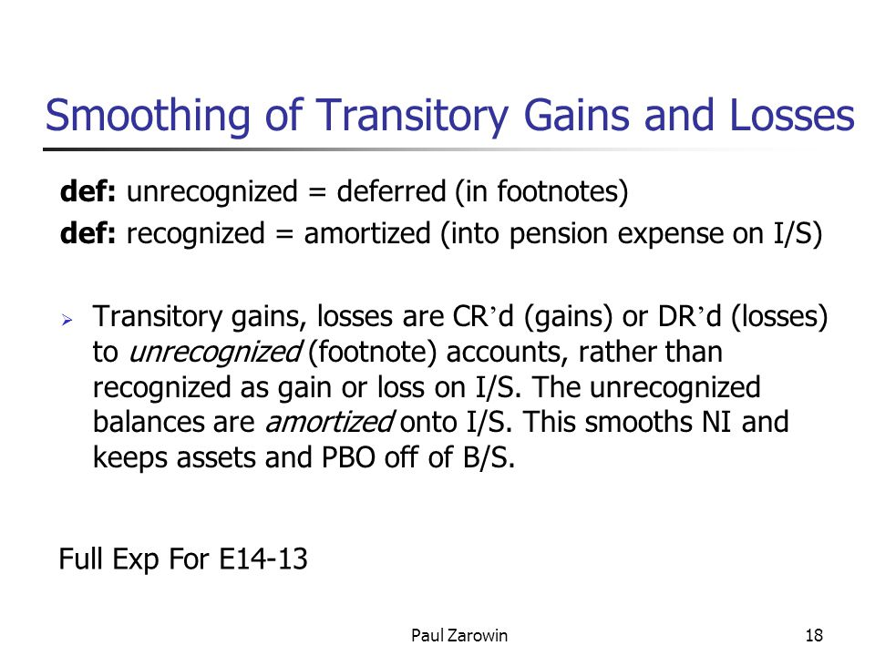Paul Zarowin18 Smoothing of Transitory Gains and Losses def: unrecognized = deferred (in footnotes) def: recognized = amortized (into pension expense on I/S)  Transitory gains, losses are CR ' d (gains) or DR ' d (losses) to unrecognized (footnote) accounts, rather than recognized as gain or loss on I/S.