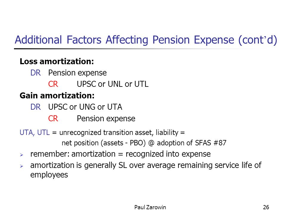 Paul Zarowin26 Additional Factors Affecting Pension Expense (cont ' d) Loss amortization: DRPension expense CRUPSC or UNL or UTL Gain amortization: DRUPSC or UNG or UTA CRPension expense UTA, UTL = unrecognized transition asset, liability = net position (assets - PBO) @ adoption of SFAS #87  remember: amortization = recognized into expense  amortization is generally SL over average remaining service life of employees
