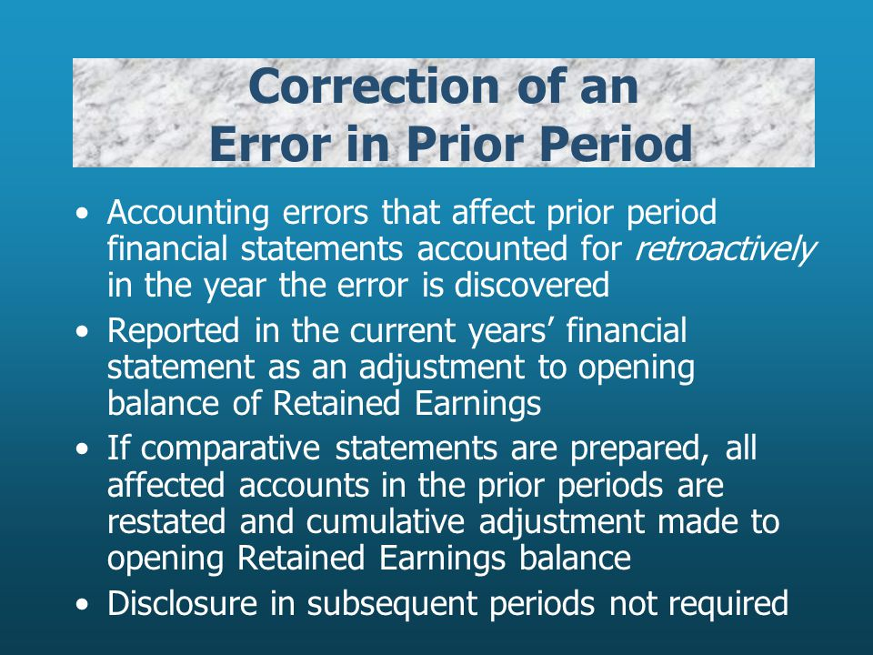 Correction of an Error in Prior Period Accounting errors that affect prior period financial statements accounted for retroactively in the year the err