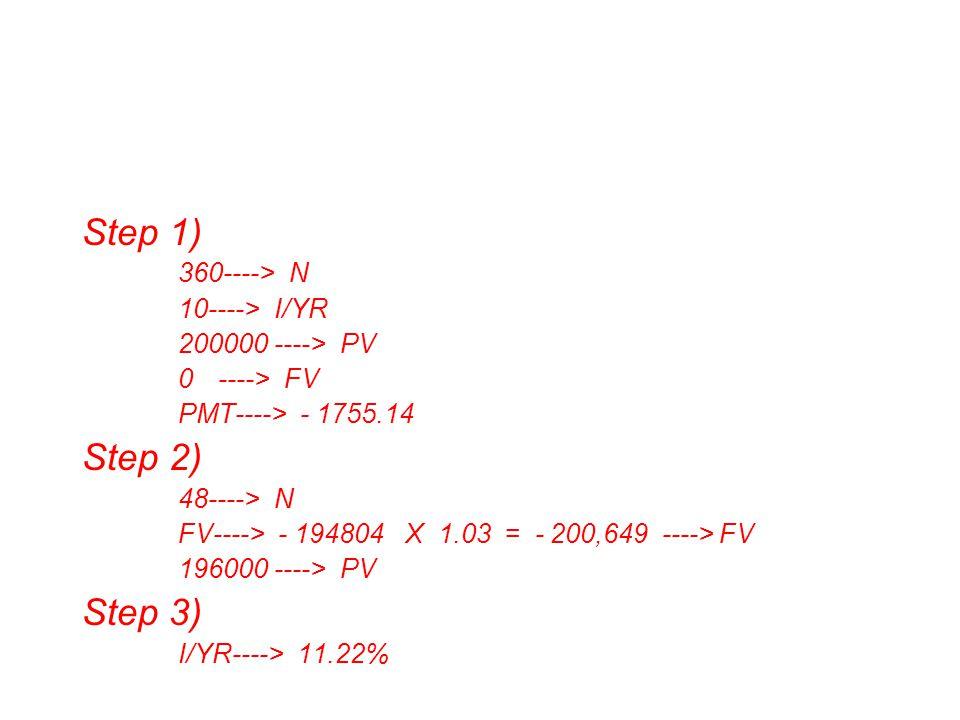 Step 1) 360----> N 10----> I/YR 200000----> PV 0----> FV PMT----> - 1755.14 Step 2) 48----> N FV----> - 194804 X 1.03 = - 200,649 ----> FV 196000----> PV Step 3) I/YR----> 11.22%