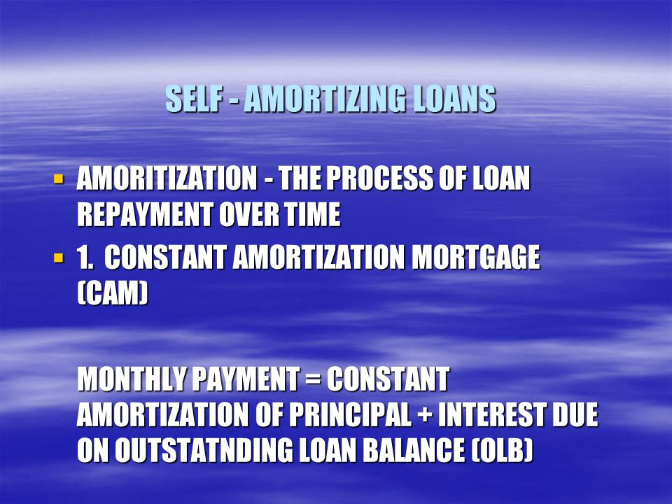 SELF - AMORTIZING LOANS  AMORITIZATION - THE PROCESS OF LOAN REPAYMENT OVER TIME  1. CONSTANT AMORTIZATION MORTGAGE (CAM) MONTHLY PAYMENT = CONSTANT