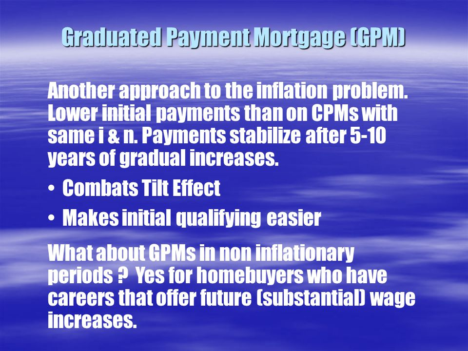 Graduated Payment Mortgage (GPM) Another approach to the inflation problem.