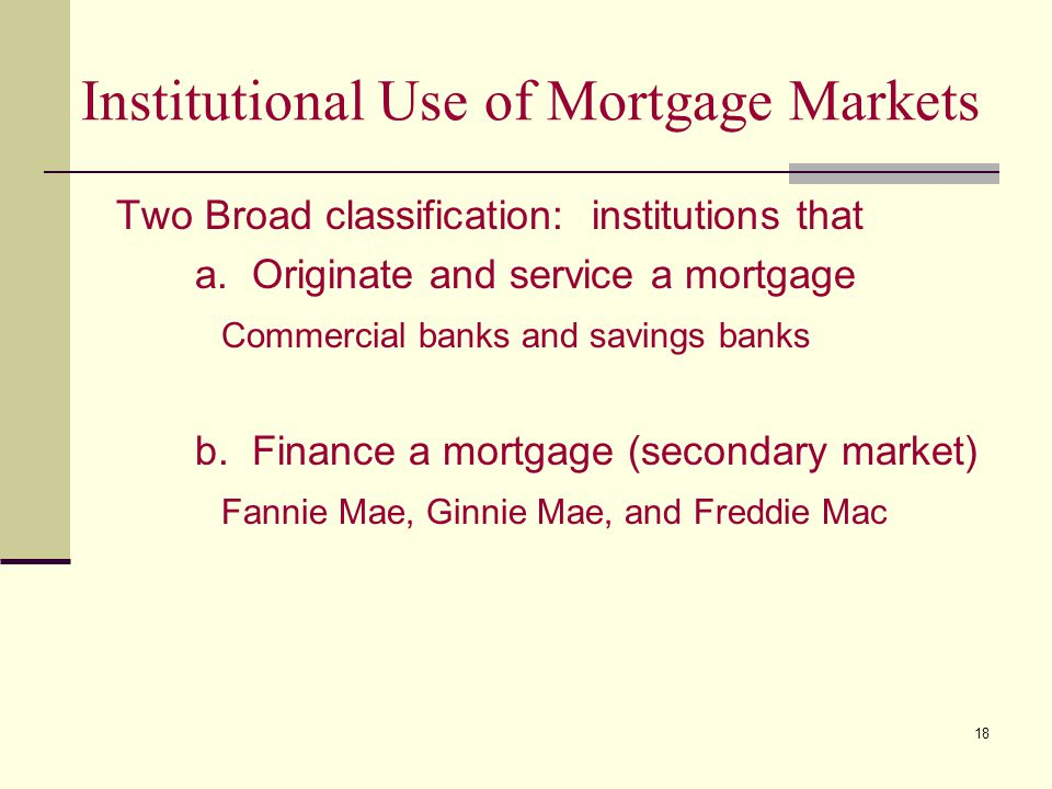 18 Institutional Use of Mortgage Markets Two Broad classification: institutions that a.