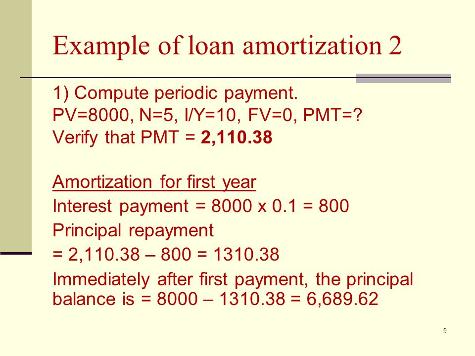 9 Example of loan amortization 2 1) Compute periodic payment.