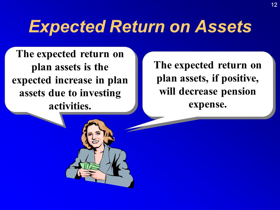 12 The expected return on plan assets, if positive, will decrease pension expense.