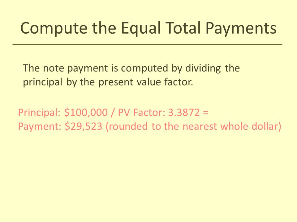 Compute the Equal Total Payments The note payment is computed by dividing the principal by the present value factor. Principal: $100,000 / PV Factor: