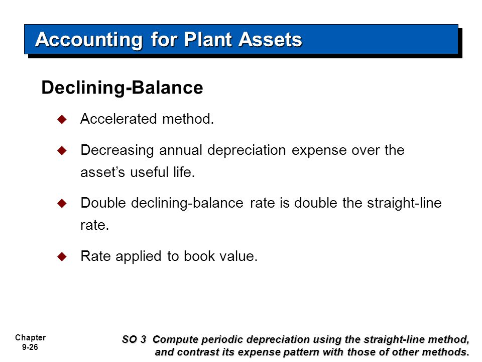 Chapter 9-26 Declining-Balance Accounting for Plant Assets  Accelerated method.  Decreasing annual depreciation expense over the asset's useful life