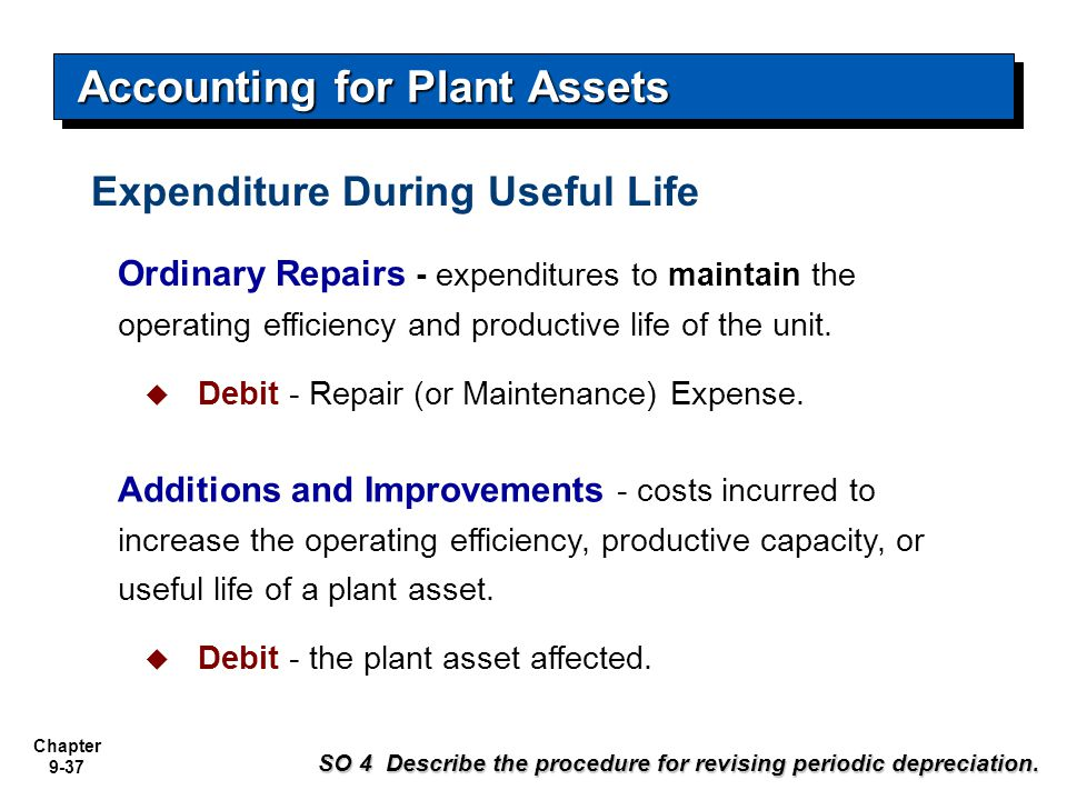 Chapter 9-37 Ordinary Repairs - expenditures to maintain the operating efficiency and productive life of the unit.  Debit - Repair (or Maintenance) E