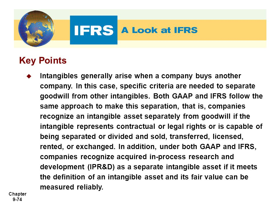 Chapter 9-74 Key Points  Intangibles generally arise when a company buys another company. In this case, specific criteria are needed to separate good