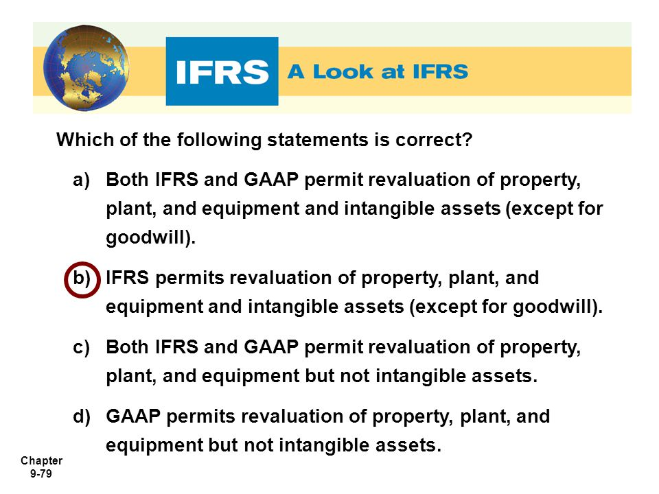 Chapter 9-79 Which of the following statements is correct? a)Both IFRS and GAAP permit revaluation of property, plant, and equipment and intangible as