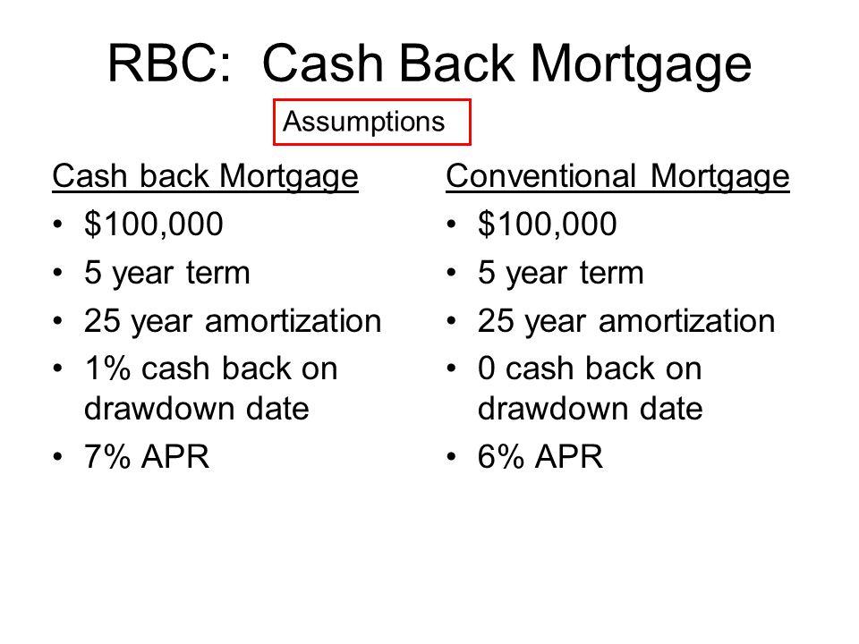 RBC: Cash Back Mortgage Cash back Mortgage $100,000 5 year term 25 year amortization 1% cash back on drawdown date 7% APR Conventional Mortgage $100,000 5 year term 25 year amortization 0 cash back on drawdown date 6% APR Assumptions
