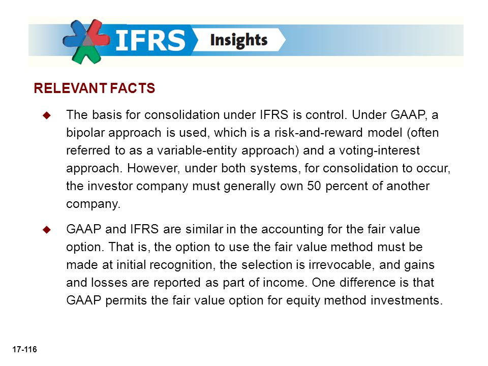 17-116 RELEVANT FACTS   The basis for consolidation under IFRS is control. Under GAAP, a bipolar approach is used, which is a risk-and-reward model