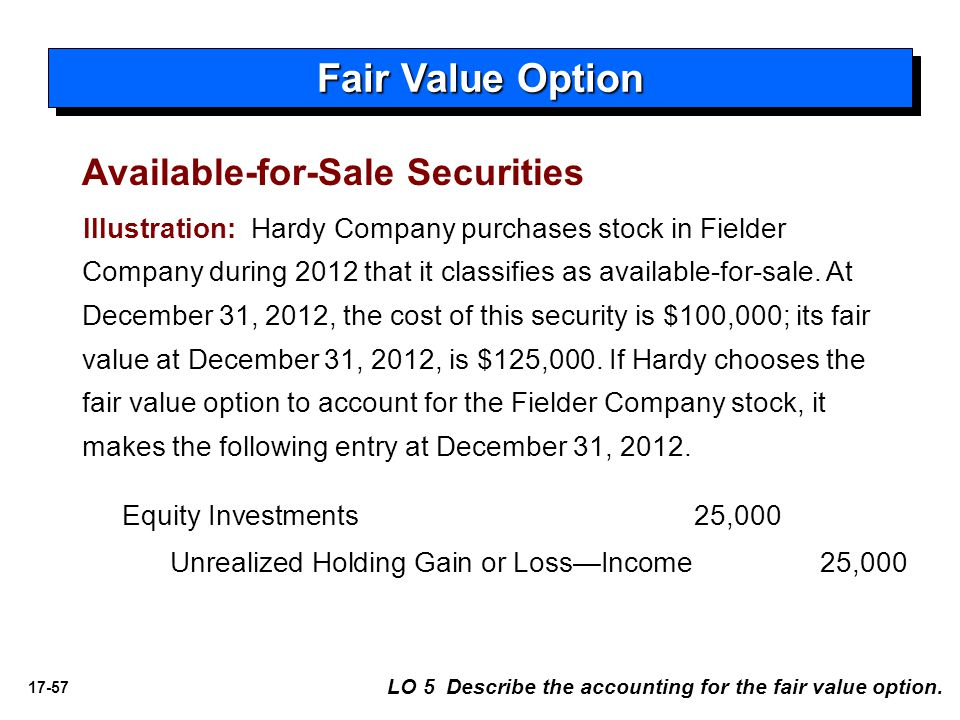 17-57 Fair Value Option Illustration: Hardy Company purchases stock in Fielder Company during 2012 that it classifies as available-for-sale. At Decemb