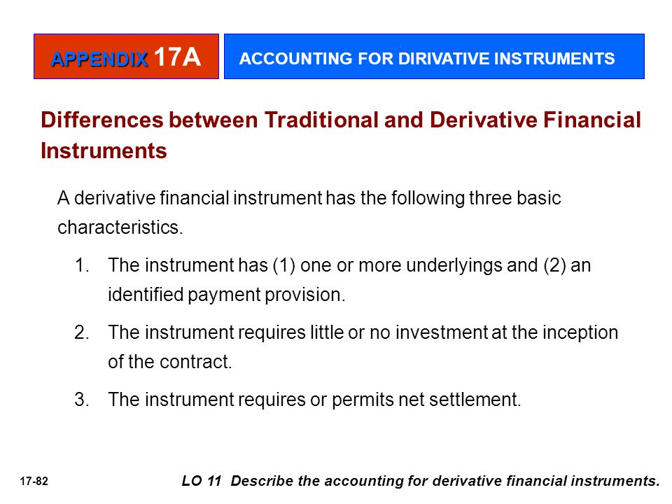 17-82 Differences between Traditional and Derivative Financial Instruments A derivative financial instrument has the following three basic characteris