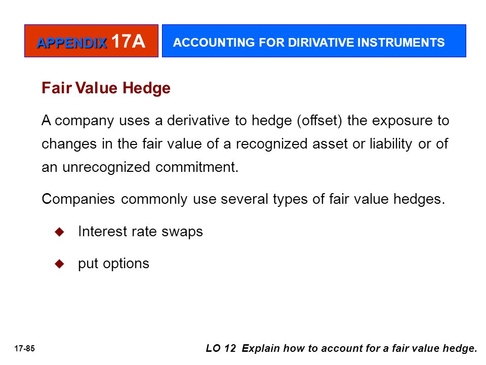 17-85 Fair Value Hedge A company uses a derivative to hedge (offset) the exposure to changes in the fair value of a recognized asset or liability or o