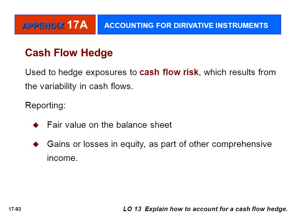 17-93 Cash Flow Hedge Used to hedge exposures to cash flow risk, which results from the variability in cash flows. Reporting:   Fair value on the ba